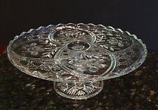 Scalloped Edge Pressed Glass Cake Stand Plate ARCHED FLOWER