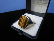 Herr. Goldring 14 ct., 585er weiß Gold mit einem Tigerauge, 11,10 gr., Größe 65