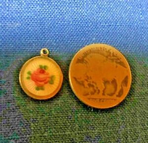 Vtg Jewelry STERLING SILVER HandPainted Pink Carnation Necklace Charm Pendant