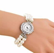 Armband Wrist Watch Women's Silver with Pearls Rhinestone Glitter White Pink