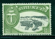 BRUNEI 112 SG129 Used 1968 $1 grn View of Water Village Cat$8