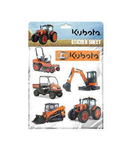 Kubota Branded A5 Sticker Sheet (stickers of five Kubota models and one logo