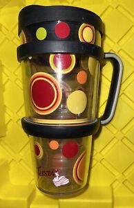 Tervis Tumbler 24 Oz Fiesta Sunny Dots Black Travel Lid And Handle
