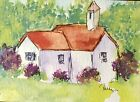 Original ACEO or ATC watercolor miniature painting - House With Steeple