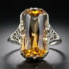 Women Antique Vintage Style Ring Yellow Citrine Gemstone Sterling Silver Plated