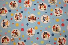 """Circle Sally Dick and Jane"" Fabric by Michael Miller White Rare Oop! Bthy"