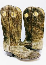 TONY LAMA☆Cow Hide Fur Pull Holes Black Label Cowboy Boots Men's Size 8.5D *EUC*