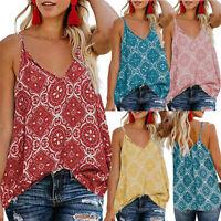 Womens Boho Floral T Shirt Sleeveless Plus Size Beach Tops Sexy Tank Top Blouse