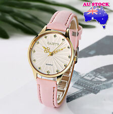 Wholesale Pink Leather Crystal White Dial Quartz Watch Women Lady Wrist Watch