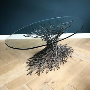 Contemporary Coffee Table Art Sculpture Steel And Glass Oval Tables Metal One Of