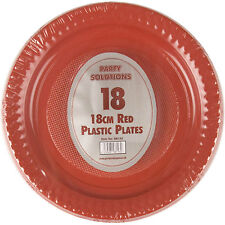 """90 X Red 18cm 7"""" Plastic Plates Round Plastic Plate Party Disposable Tableware"""