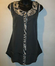 Top Large Blouse Button Down Front Black White Silky Shirt NWT 101