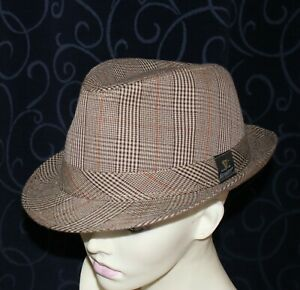 vintage TRILBY style mens hat s60 check fabric GUINNESS