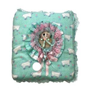 Handmade OOAK one of a kind plush teddy bear padded 3 ring baby book binder 90s