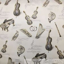 BonEful Fabric Cotton Quilt White Gold Xmas Music Instrument Piano Violin SCRAP