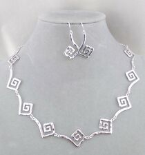 Silver Hammered Square Swirl Necklace Set Fashion Jewelry NEW