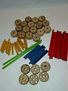 Vintage Tinker Toys Mixed Lot - Wooden wheels sticks.