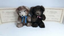 """2_6""""Jointed Mink Teddy Bears_S & K Specialty Bears_w/Certificate of Authenticity"""