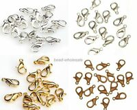 100Pcs Silver Gold Copper Plated Lobster Clasps Hooks Charms 10/12MM
