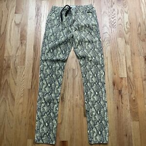 Men's Urban Outfitters Snakeskin Green Print Jogger Skinny Fit Casual Pants Sz M