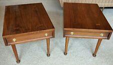 Mid Century Walnut End Tables American of Martinsville PAIR drawer brass pulls