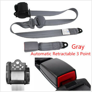 Automatic Retractable 3 Point Safety Seat Belt Lap Seatbelt Gray For Car Truck