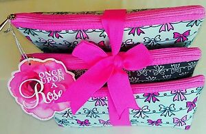 Once Upon a Rose 3 Piece Cosmetic Bag Set-Great for Traveling