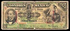 El Banco de Londres y Mexico 5 Pesos O/P MONTERREY 5.01.1906 M271l / BK-DF-38 VG
