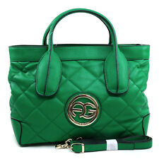 Women's Classic Quilted Faux Leather Tote with Gold Logo & Bonus Strap - Green