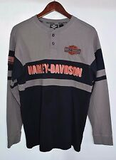 Mens Small Harley Davidson Motorcycles Oil  Embroidered Striped Shirt