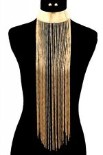 "11"" gold 19"" tassel fringe chain bib collar choker necklace .30"" earrings"