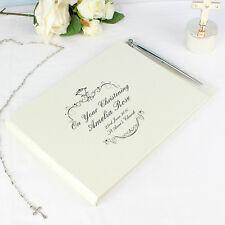 PERSONALISED MESSAGE GUEST BOOK & PEN SET - Black Ornate Wedding Gift Engagement