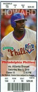 2010 Phillies vs Braves Ticket: Billy Wagner save/Placido Polanco 3 Hits