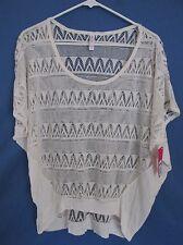 New Women's Xhilaration Cream Geometric Adobe Net Short Sleeve Shirt Size XL