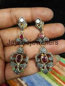 Pave Diamond Rose Cut Polki Emerald & Ruby Gemstone Earring 925 Sterling Silver
