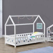 B-WARE Kinderbett mit Rausfallschutz 70x140cm Haus Holz Weiß Bettenhaus Hausbett