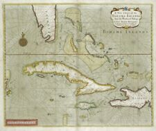1702 Cuba Florida Bahamas antique map chart archival fine art print 20x24