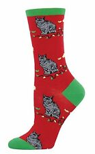 Xmas Cat Socks -Christmas Cat'Astrophe Red Socks *One Size Fits Most