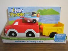 Fisher Price Little People Wheelies Fishing Boat truck trailer Eddie camping NEW