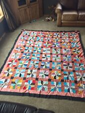 """Vintage 82"""" X 94"""" Quilt Face Only Incomplete Blanket Bed Cover"""