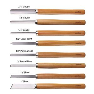 Woodworking Tools Lathe Chisels Set HSS Blades 8Pc Comfortable Grip Long Handles