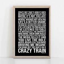 More details for ozzy osbourne crazy train song lyrics poster print wall art
