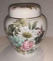 "Stuart Fine Bone China Floral Ginger Jar 4"" Tall Made in England"