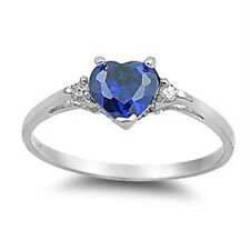 Fashion Heart Shape 1.85ct Blue Sapphire 925 Silver Wedding Ring Size 7