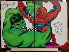 Spiderman Vs. Hulk 2 of 2 Puzzle Sketch Cards  by Nate Rosado iamnatetheartist