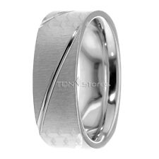14K Solid Gold Mens Square Wedding Bands Ring Mans Wedding Band Ring Comfort Fit