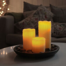 LED Candle Flickering With Real Wax Coating Flameless Beige