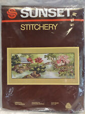 Sunset Stitchery Oriental Tea Garden Crewel Embroidery Kit Wool Yarn 2485