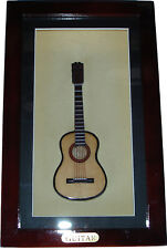 "Shadow Box framed with handmade miniature Acoustic Folk Guitar (10.25"" x 6.25"")"