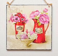 PIASTRA a parete/immagine vintage shabby chic fiori in rosso VASO/BROCCA, giardino, Francese